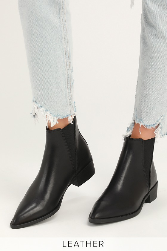8ab59dd1cb0 Steve Madden Jerry - Black Leather Booties - Ankle Booties