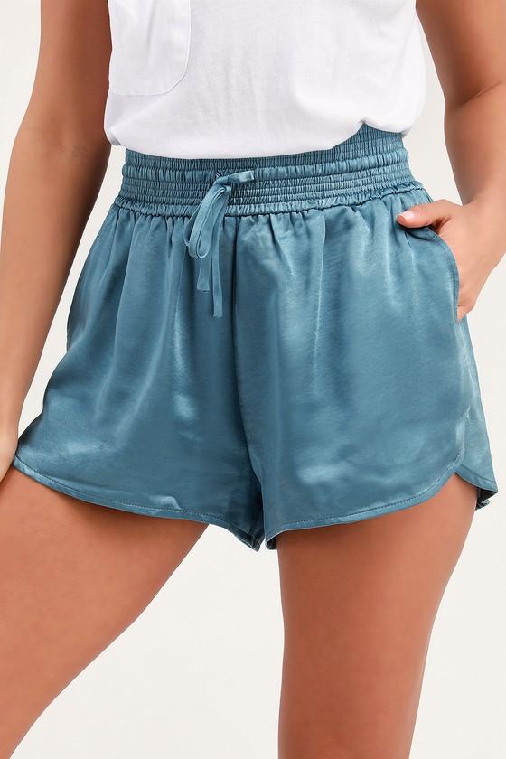 05f17c1a81 Cute Satin Shorts - Blue Drawstring Shorts - High-Waisted Shorts