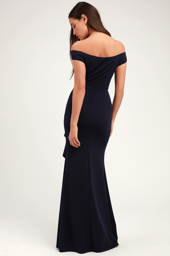 7dda3b29d9e4 Lovely Navy Blue Maxi Dress - Mermaid Dress - Ruffled Maxi Dress
