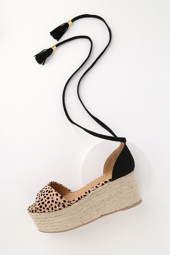 fdbba96f85e Vera Tan and Black Suede Leopard Print Espadrille Wedges