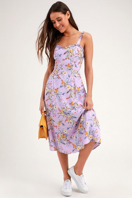3b4d89babd Lavender Floral Print Dress - Floral Midi Dress - Tie-Back Dress