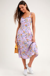 f142a18065e7 Ali & Jay Be Mine Lavender Midi Dress - Purple Floral Print Dress