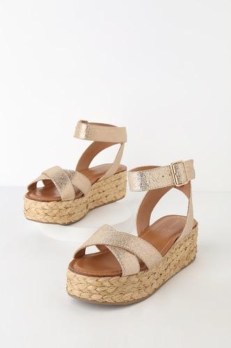 51a0a75419a0 Zodiac Gold Flatform Espadrille Sandals