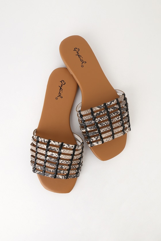 Desma Beige And Brown Snake Print Slide Sandals by Lulu's