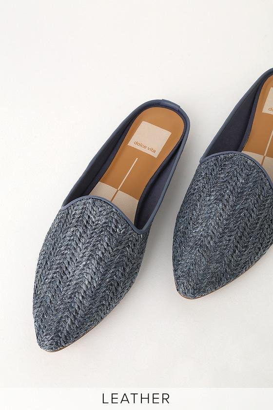 96c766bd18 Dolce Vita Grant - Blue Woven Loafers - Raffia Slides - Flats
