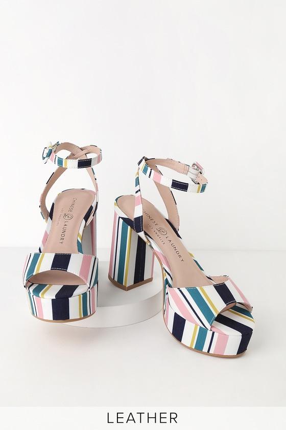57891d7e8b Chinese Laundry Theresa - Striped Heels - Striped Platform Heels