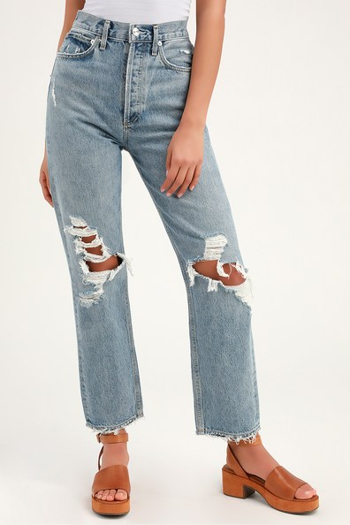 AgoldE '90S MID RISE LIGHT WASH DISTRESSED JEANS