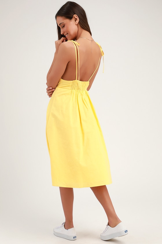 998b8134358 Cute Yellow Dress - Yellow Midi Dress - Yellow Skater Dress