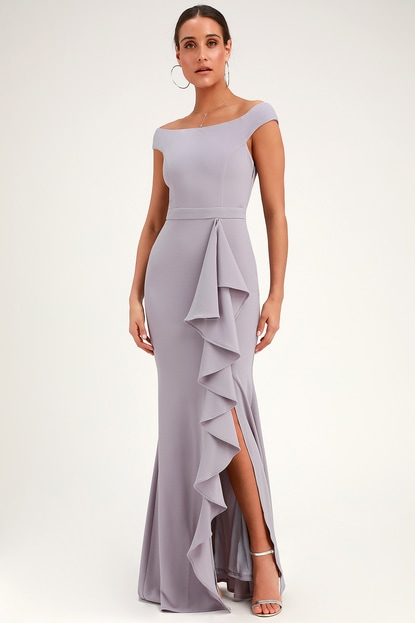 K'Mich Weddings - wedding planning - bridesmaids dresses - MILA DUSTY LAVENDER RUFFLED OFF-THE-SHOULDER MAXI DRESS - lulus