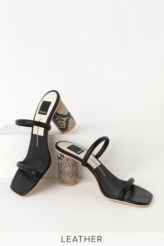 High Leather Noles Black Sandals Heel 4R5Ajq3L