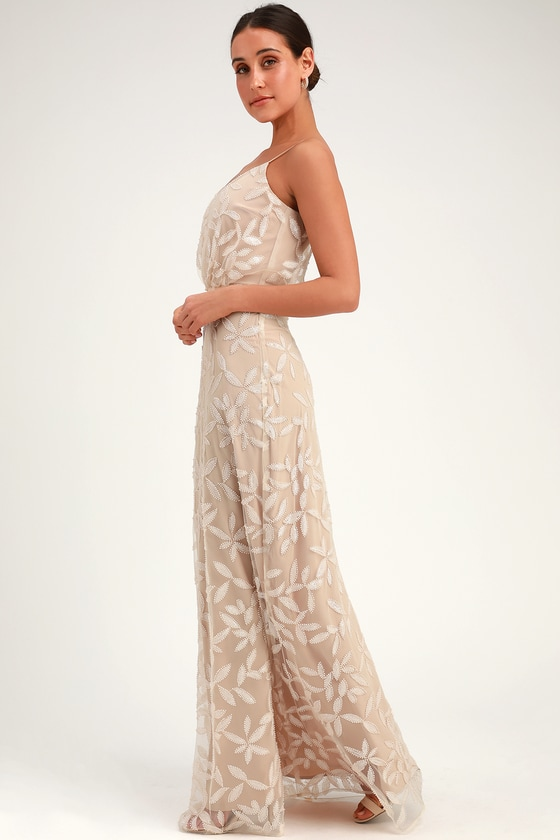 61374af251c WAYF The Savannah - Sequin Gown - Beige Maxi Dress