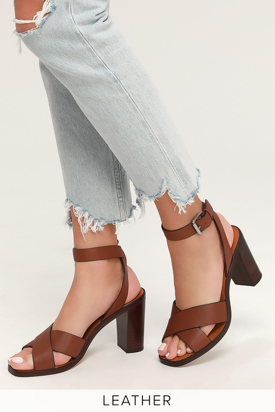 e2a747189a Dolve Vita Nala - Brown Ankle Strap Heels - Stacked Heels