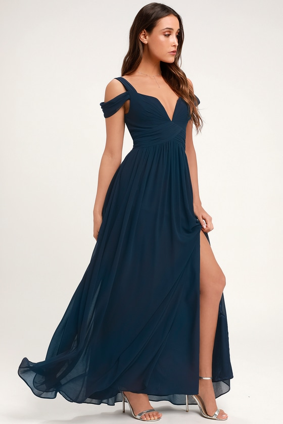 28e3c5b1677 Navy Blue Maxi Dress - Cocktail Dress - Bridesmaid Dress