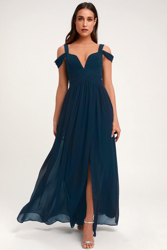 1c0697661d7a Navy Blue Maxi Dress - Cocktail Dress - Bridesmaid Dress