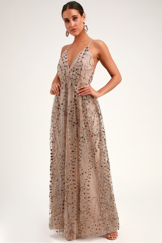 LUMINOUS NIGHT TAUPE GLITTER SEQUIN MAXI DRESS