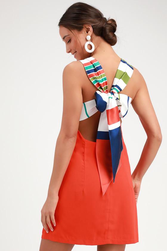 6601b875af29 Cute Red Orange Dress - Tie-Back Dress - Orange Backless Dress