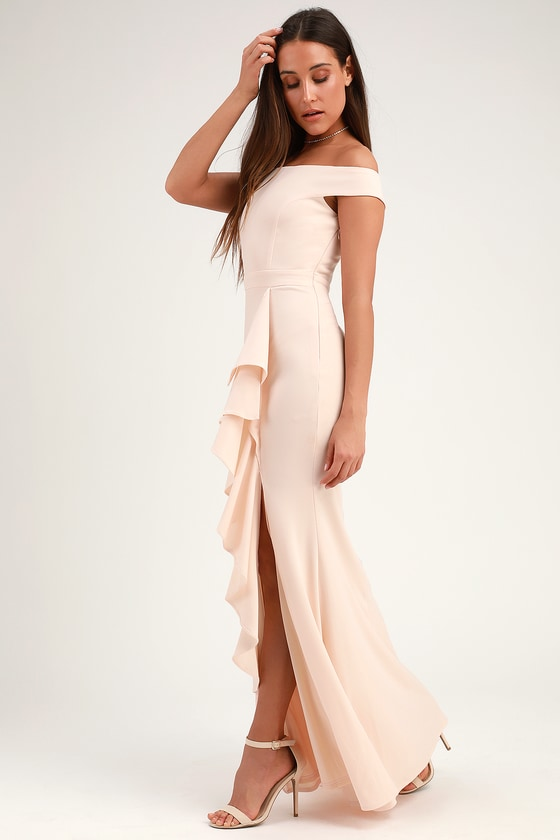 136f79827c8 Lovely Cream Maxi Dress - Mermaid Dress - Ruffled Maxi Dress