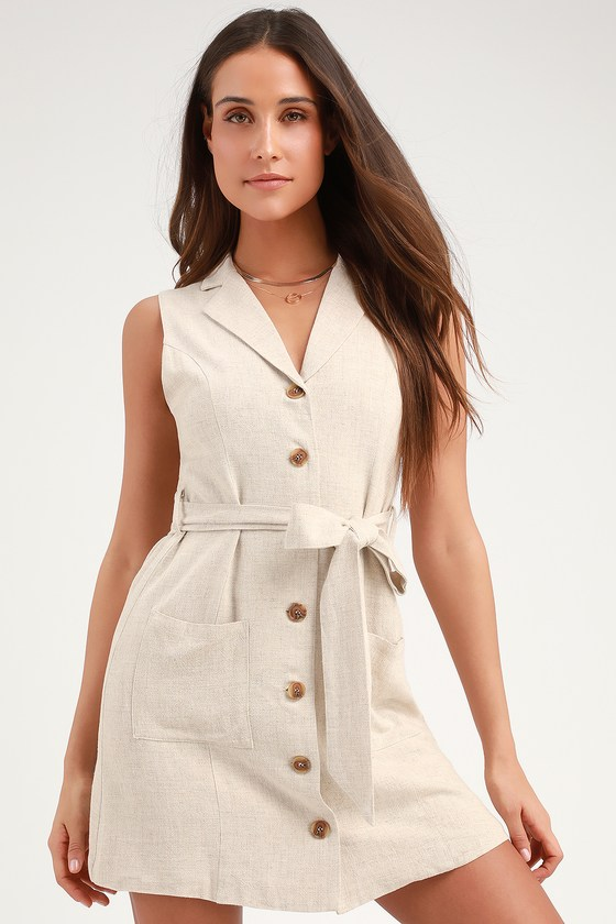 Lost + Wander CRESCENT MOON BEIGE BUTTON-FRONT MINI SHIRT DRESS