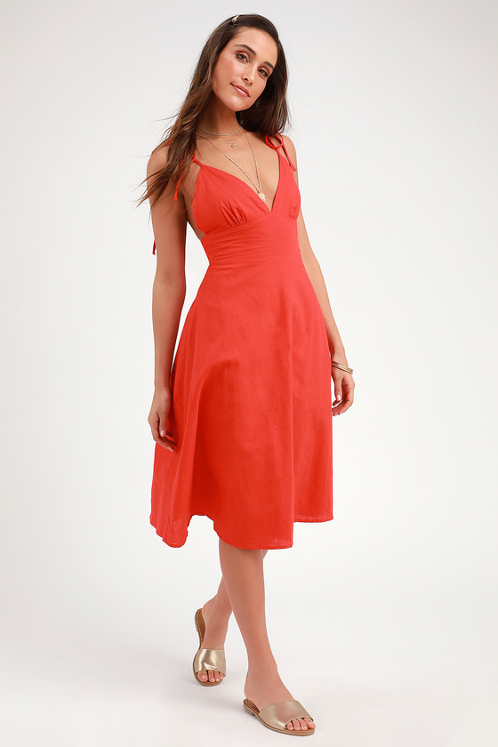 8709b60a5525 Cute Red Dress - Red Midi Dress - Red Skater Dress - Midi Dress
