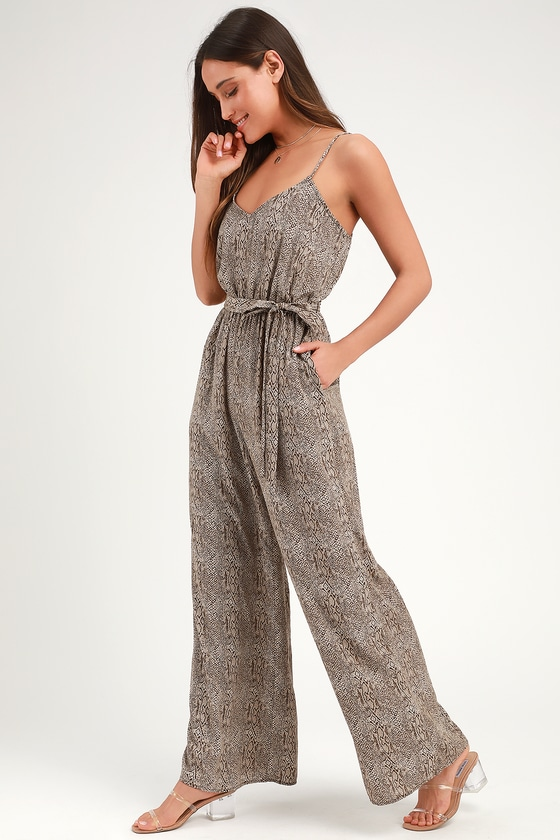 6b651ef31679 Sexy Snake Print Jumpsuit - Sleeveless Wide-Leg Jumpsuit