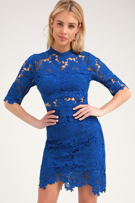 A FINE ROMANCE COBALT BLUE LACE SHEATH DRESS