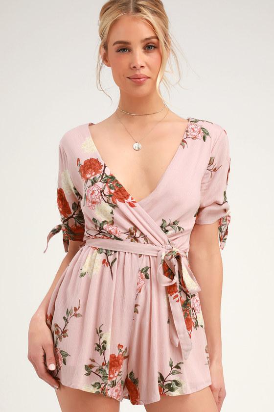 Sloane Blush Pink Floral Print Short Sleeve Romper