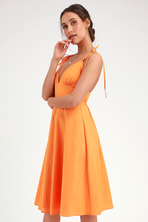 79c74efa3af Cute Coral Orange Dress - Ruffled Skater Dress - Sleeveless Dress