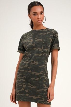 8908b4f3ad RD Style Camo Print Dress - T-Shirt Dress - Casual Camo Dress