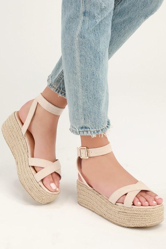 5c9fe8055 Cute Nude Espadrilles - Espadrille Sandals- Platform Sandals