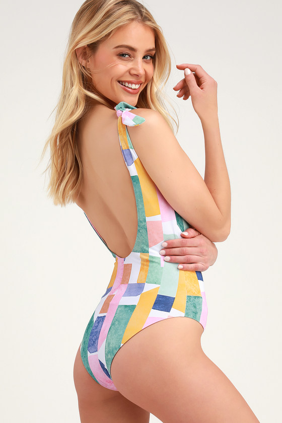MAKE WAVES AQUA MULTI PRINT TIE-STRAP ONE-PIECE SWIMSUIT