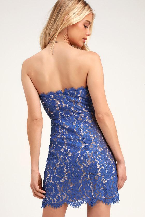 e92a7e424c57 Chic Royal Blue Dress - Lace Mini Dress - Strapless Lace Dress