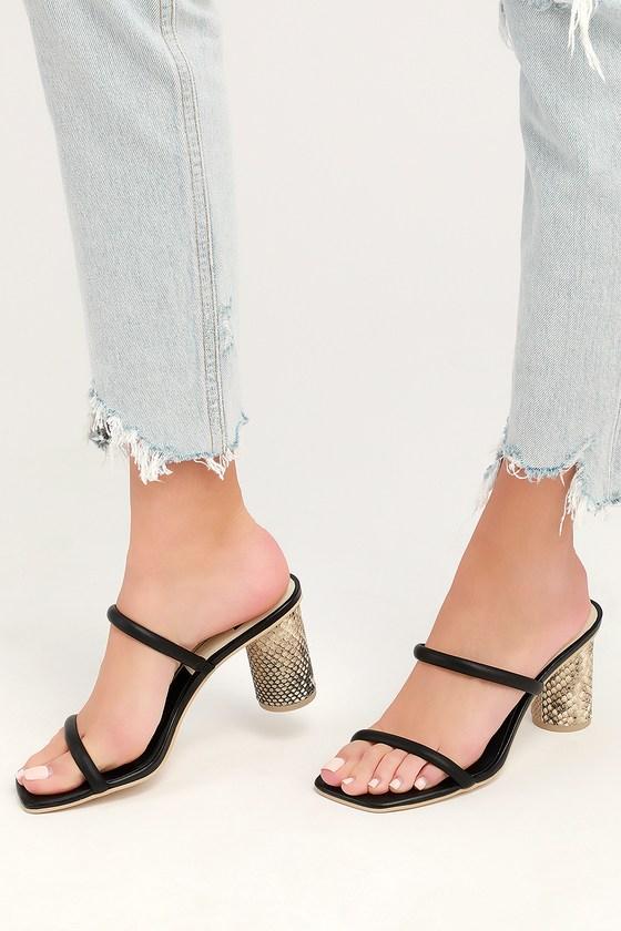 58f71d1af9 Dolce Vita Noles Black Leather Heels - Snake Print Heeled Sandals