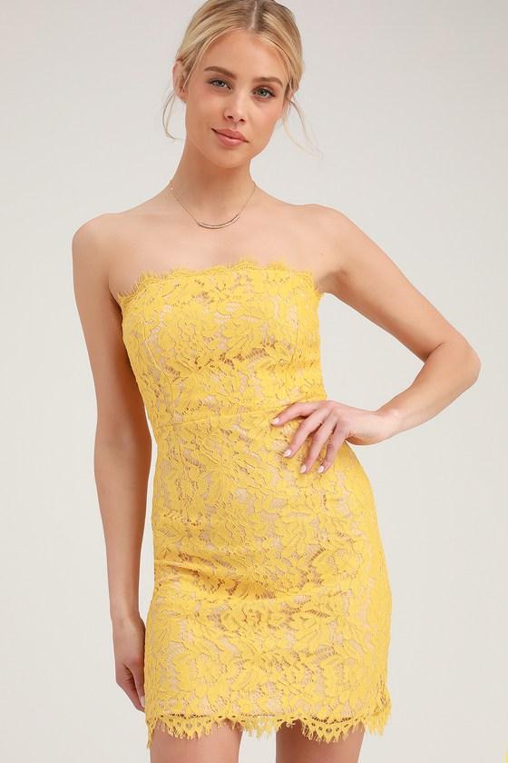 8bb0ef1d490e Chic Yellow Lace Dress - Lace Mini Dress - Strapless Lace Dress