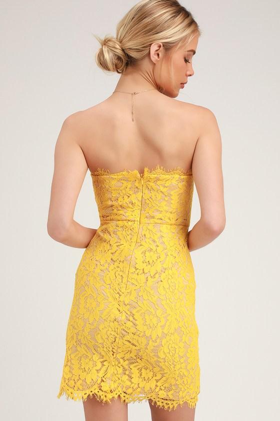 c6e497d9e85 Chic Yellow Lace Dress - Lace Mini Dress - Strapless Lace Dress