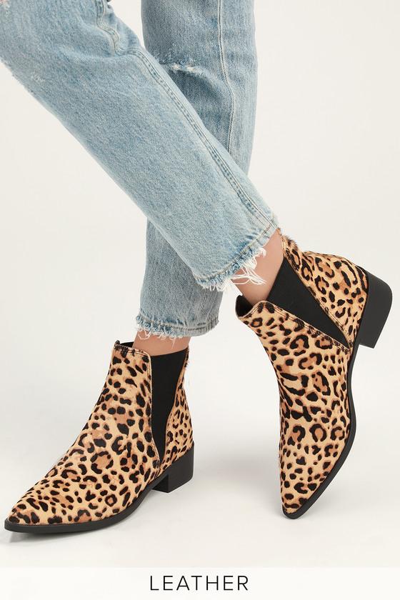 59d072c9a54 Steve Madden Jerry - Leopard Calf Hair Booties - Ankle Booties