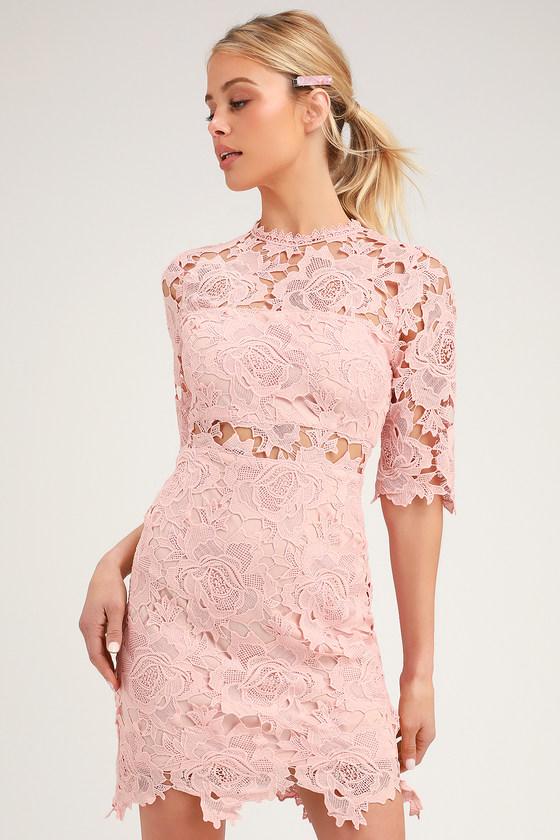 A FINE ROMANCE BLUSH PINK LACE SHEATH DRESS