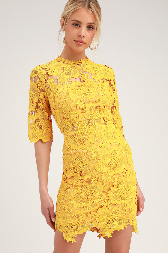 A FINE ROMANCE GOLDEN YELLOW LACE SHEATH DRESS