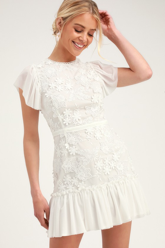 0148637cdd9 RYSE Ivy - White Lace Dress - Crocheted Lace Mini Dress