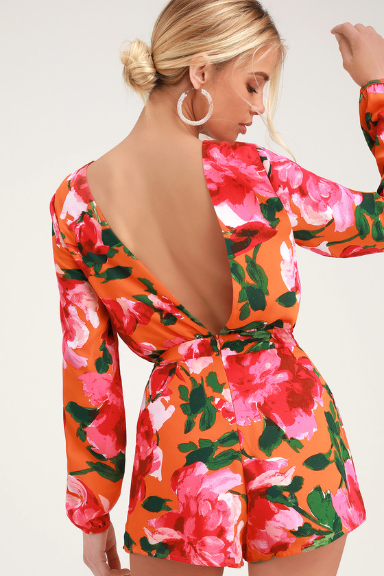 Sweetest Song Orange Floral Print Backless Long Sleeve Romper by Lulus