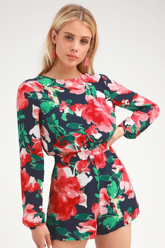 de6a1404af9 Cute Navy Floral Romper - Long Sleeve Romper - Backless Romper