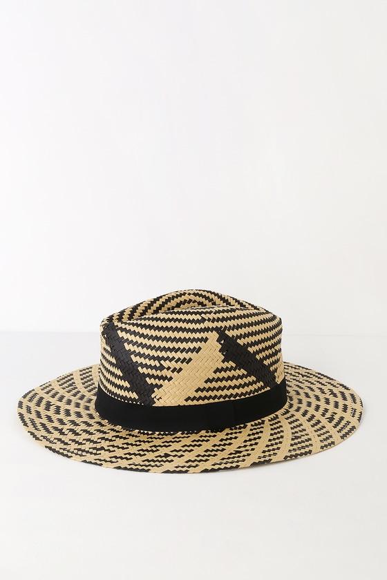 d731ff29d7686 Cute Beige and Black Hat - Woven Straw Hat - Fedora Hat - Sun Hat