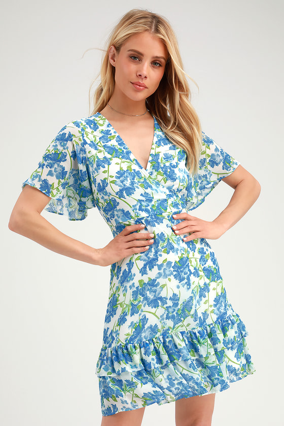 Glorious White and Light Blue Floral Print Ruffled Mini Dress - Lulus