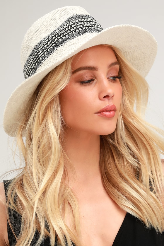 969efba2768709 Cute White Straw Hat - Sun Hat - Woven Hat - Fedora Hat