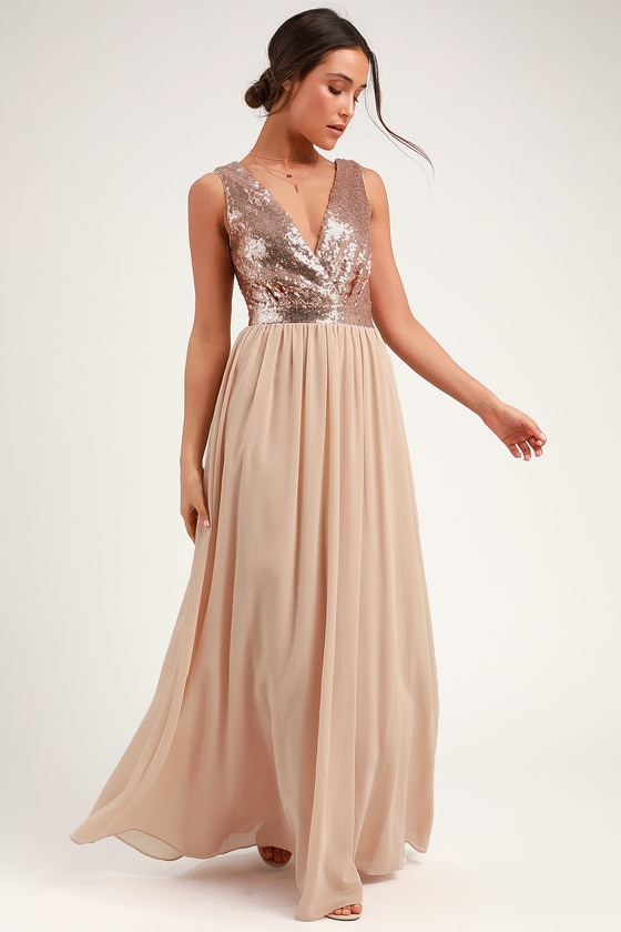 6994be2eea9 Lovely Champagne Maxi Dress - Sequin Maxi Dress