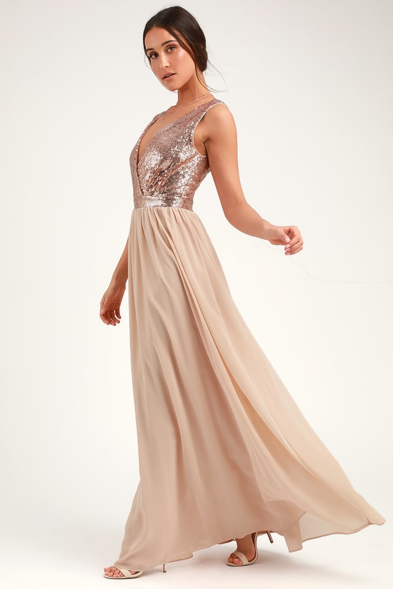 130c1ced9aac3 Lovely Champagne Maxi Dress - Sequin Maxi Dress