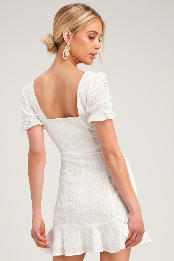 a5710f316910 Cute Eyelet Lace Dress - Sweetheart Neck Mini Dress - White Dress