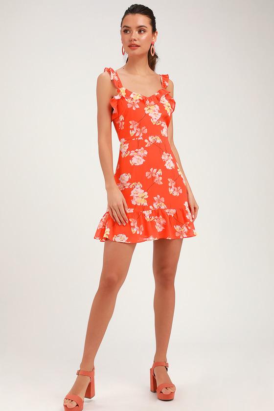 7c5a9f189216 Cute Coral Red Floral Print Dress - Ruffled Dress - Mini Dress