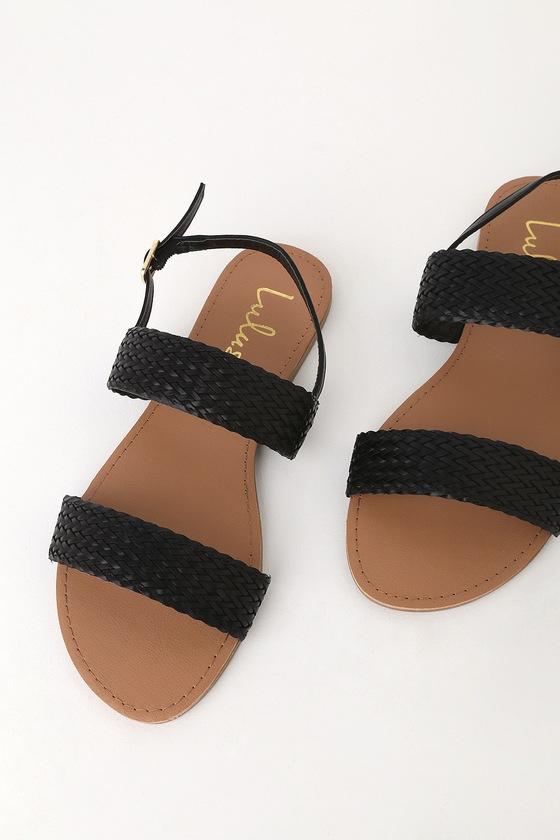2f143e6198d Cute Flat Sandals - Black Silver Sandals - Woven Sandals