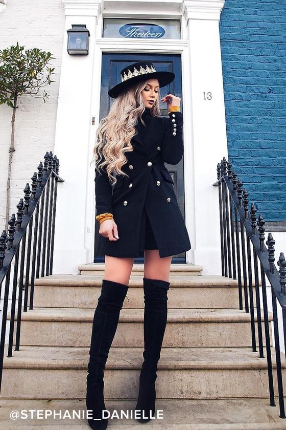25c67300dea Chic Black Coat - Double-Breasted Coat - Military Coat
