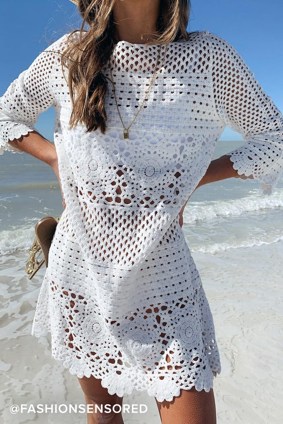 15b76c4131790 4SI3NNA Willow Dress - Crochet Swim Cover Up - White Dress